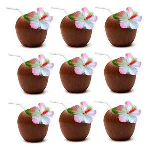 6 x Hawaiian Luau Hula Tropical Plastic Party Coconut Cup Drink & Straw QR05
