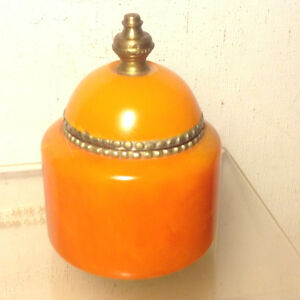 ANTIQUES AMBER BAKELITE METAL TRINKET JEWELRY BOX
