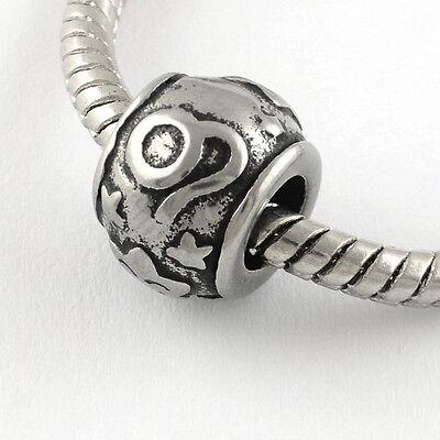 Stainless Steel Leo Beads Astrology Horoscope Charms For European Bracelet