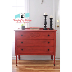 Antique Farmhouse Red Dresser. Solid wood!