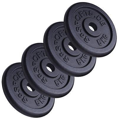 ScSPORTS® 20 kg Hantelscheiben Set Guss 4 x 5 kg Hantel Gewichte 30 mm 2. Wahl ()