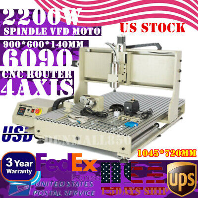 Cnc 4axis 6090 Usb Router Milling Engraving Diy Cnc Cutting Machine 2.2kw Vfd Us