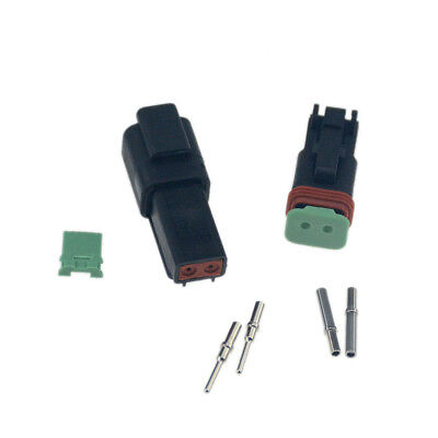 10 Sets Black Deutsch 2 Pin Waterproof Electrical Wire Connector Plug 16-18 Ga