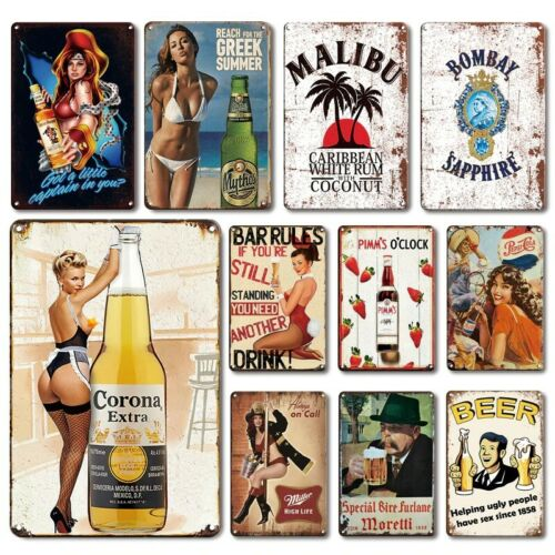 Alcohol Drinks Alloy Metal Poster Tin Sign Beer Gin Whiskey Bar Wall Decoration