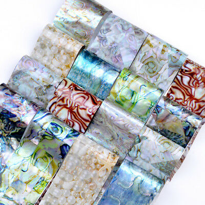 16pcs/Set Marble Shell Design Nail Art Foils Transfer Decals Sticker Decoration