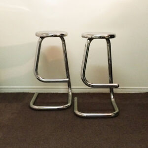 Vintage Pair of Chrome 'Paperclip' Stools