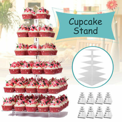 6Tier Round Adjustable Wedding Acrylic Cupcake Stand Tree Clear Tower Cake Displ