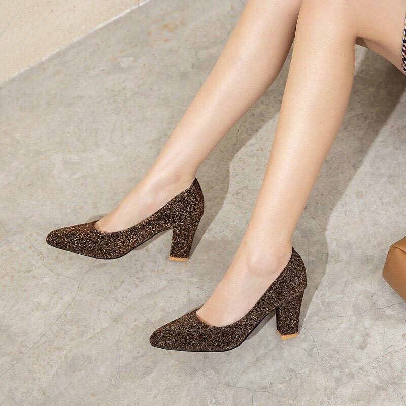 как выглядит Women Glitter Slip On Pointy Toe Block Heel Elegant Wedding Bridal Shoes 44-47 фото