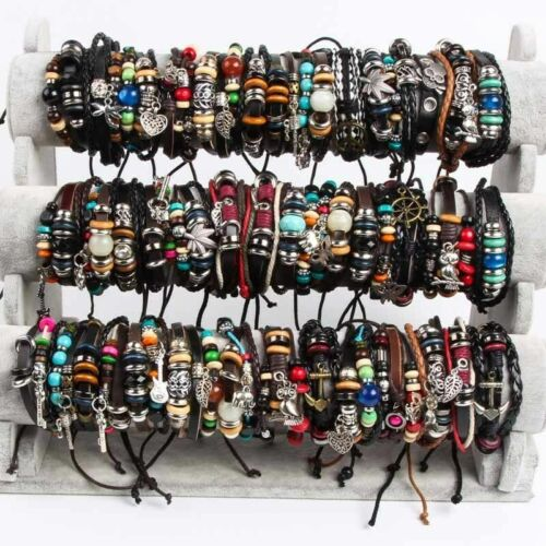 Wholesale Lots 30pcs Mixed Leather Bracelets Surfer Cuff Unisex Ethnic Tribal
