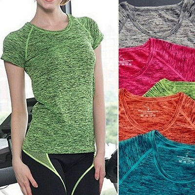 (NEW Women Sport GYM Yoga Training Short Sleeve T-shirt Ladies Fitness Top Blouse)