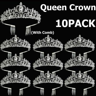 Princess Tiaras Bulk (10x Wedding Bridal Princess Crystal Prom Hair Tiara Crown Veil Headband w/)