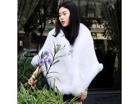 DAYMISFURRY -- Super Luxury White Mink Fur Cape With Fox Fur Trim