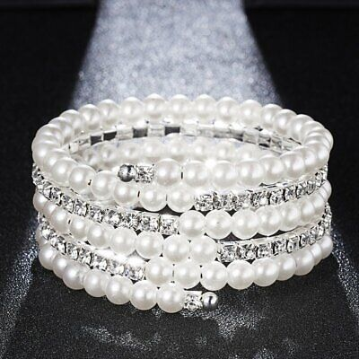 - Wedding Bridal Crystal Pearl Stretch Bracelet Bangle Wristband Women Jewelry New