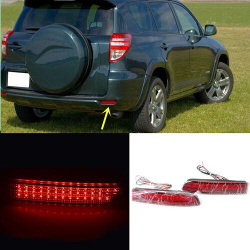Red Lens Rear Bumper Reflector LED Fog Tail Warn Lamp For Toyota RAV4 2006-12