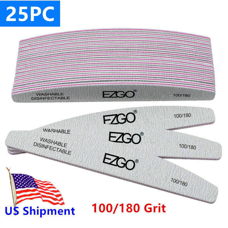 EZGO 25pc Nail File Sanding Buffer Block Pedicure 100/180 Grit Manicure Nail Art