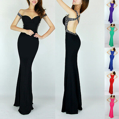 Attractive Sexy Backless Bridesmaid Evening Prom Party Bodycon Long Gown Dress