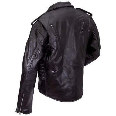 Men's Genuine Buffalo Patch Leather Classic Black Motorcycle Biker Jacket Coat