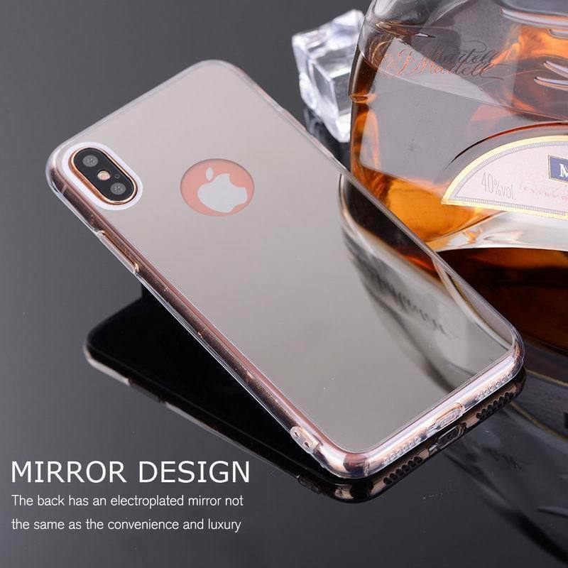 For iPhone 6s 7 8 Plus XS Max XR X Luxury Slim Silicone Mirror Soft Case Cover