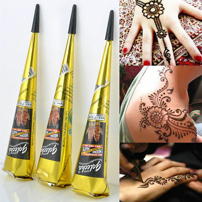 3 Golecha Black Natural Herbal Henna Cones Temporary Tattoo Kit Body Art Paint
