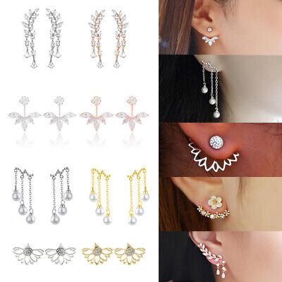 Women Double Sided Ear Jacket Piercing Water Drop Crystal Earrings Jewelry Gift Earring Jackets Ear Jewelry