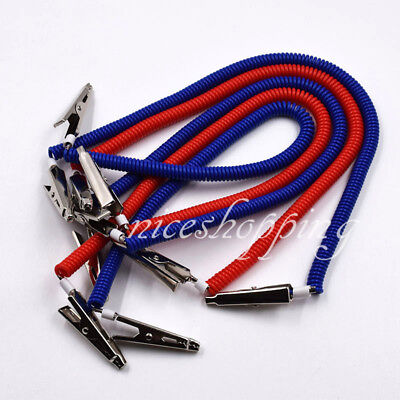 1510 Dental Bib Clips Crocodile Chains Napkin Holder Flexible Plastic Redblue