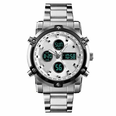 MENS MILITARY/SPORTS CHRONOGRAPH DUAL -DIGITAL / ANALOG STAINLESS STEEL WATCH