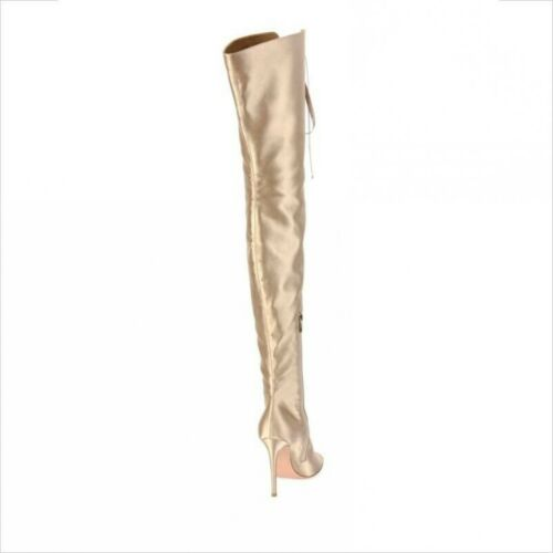 6757eb8625648 Women Peep Toe Lace Up Over the Knee Boots Gold Satin Thigh High Heels Boots
