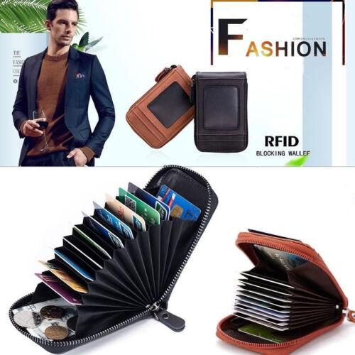 Men Genuine Leather Antimagnetic Card Slots Coin Wallet Purse Zipper Pocket