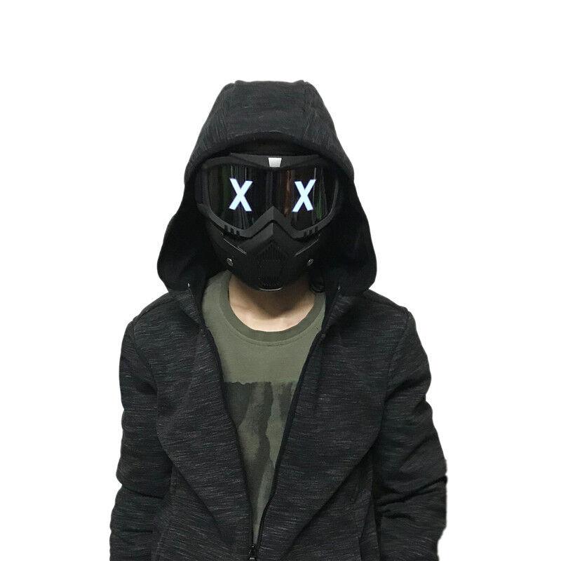 LED Luminous Half Face Mask DJ Cosplay Helmet Halloween Party Props Gift