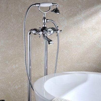 Classic Freestanding Bath Tub Filler Floor Mounted Bathroom Faucet Handshower New Classic Tub Filler
