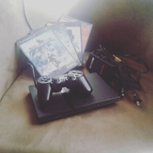 PS2 + 4 Games, Card, Controller, Cords