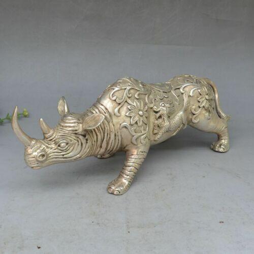 Chinese Fengshui Silver copper Beast Kirin Kylin The rhino Rhinoceros Statue