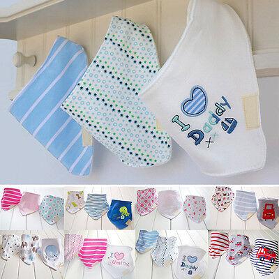 Baby Girls Boys Saliva Towel Triangle Head Scarf Bandana Kids Feeding Bibs 3Pcs