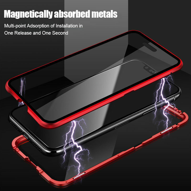 For IPhone 12 Pro Max / Mini Magnetic Adsorption Metal Tempered Glass Case Cover - $10.92