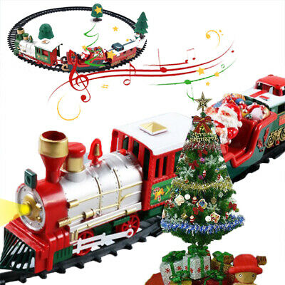 Electronic Music Christmas Toy Classic Train Set with Lights and Sounds for Kids