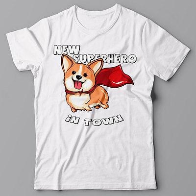 Corgi T-shirt NEW SUPERHERO IN TOWN Superdog Dog puppy - Graphic Tee