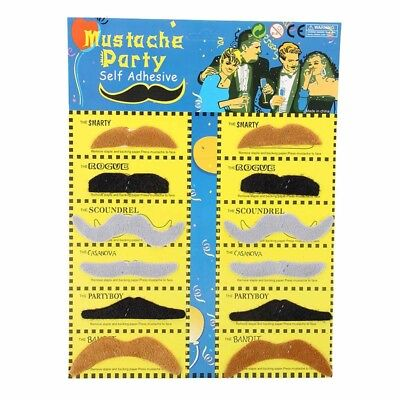 F5O8 Pack 12 Fake Mustache Fake Adhesive Dress Up Costume Party (Fake 6 Pack Kostüm)