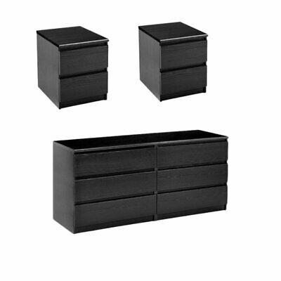 3 Piece Bedroom Set with 6-Drawer Double Dresser and Two Night Stands in Blac...