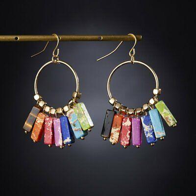 7 Chakra Natural Stone Earrings Women Bead Tassel Ring Ear Hook Drop Dangle Gift
