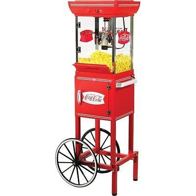 10 Cup Coca-cola Popcorn Cart Machine Full-size Coke Oil Pop Corn Kettle Stand