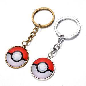 Pokemon Poke ball Silver Gold Alloy Glass Cabochon Cars Keys Chain Ring DMX