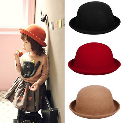 Unisex Kids Wool Felt Bowler Top Derby Hats Cloche Caps Girls Roller Up Brim - Kids Derby Hats