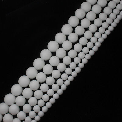 4-18mm Frosted dull polish White porcelain Agate Round Stone DIY Loose Beads 15