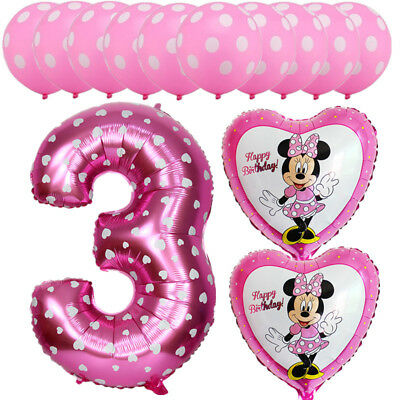 13 Birthday (13pcs Mickey Minnie Mouse Balloons 3nd Birthday Number Party Decor Supplies)