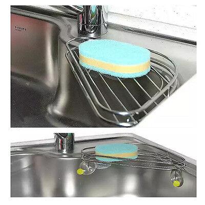 Stainless Sink Corner  suction shelf Dish Sponges Holder Organizer Storage NEW