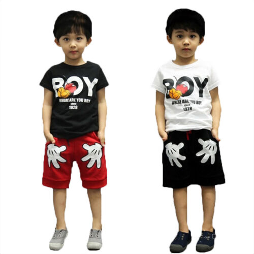 a796f89864 Details about Children Boys Clothing Sports Playsuit Mickey Mouse T-shirt + Short  Pants 2pcs