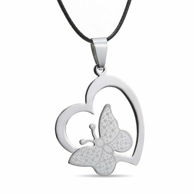 Charm Stainless Steel Heart Butterfly Pendant Choker Necklace Jewelry Party Gift
