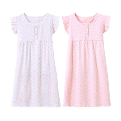 New cap Sleeves Summer Girls Nightgown Sleepwear Cotton Pyjamas  - Girls Nightgown Cotton