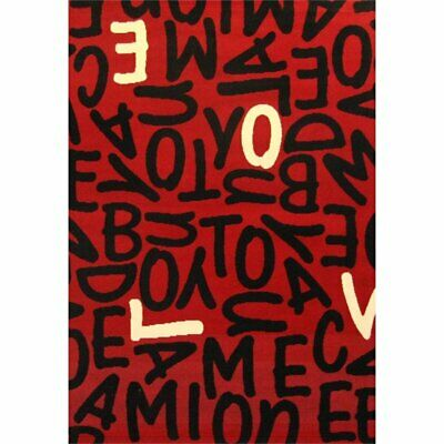 Abacasa Terra Jumble Love Red-Black-Ivory 4x6 Area Rug