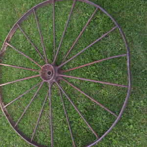 Antique large implement steel wheel for sale